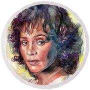 Whitney Houston Portrait Round Beach Towel