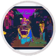 Who Dat At Night In The Quarter Round Beach Towel