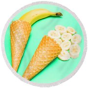 Whole Bannana And Slices Placed In Ice Cream Cone Round Beach Towel