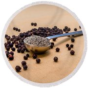 Whole Black Peppercorns With A Heaping Teaspoon Of Ground Pepper Round Beach Towel