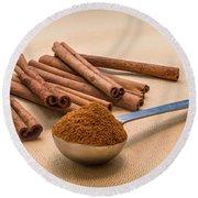 Whole Cinnamon Sticks With A Heaping Teaspoon Of Powder Round Beach Towel