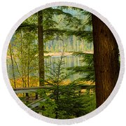 Whonnock Lake Through The Trees Round Beach Towel