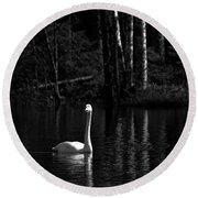 Whooper Swan In Bw 1 Round Beach Towel