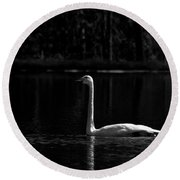 Whooper Swan In Bw 2 Round Beach Towel
