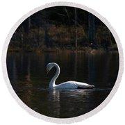 Whooper Swan Of Liesilampi 5 Round Beach Towel