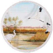 Whooping Cranes-jp3151 Round Beach Towel