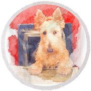 Whos That Dog In The Window? Round Beach Towel