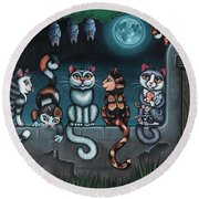 Whos Your Daddy Cat Painting Round Beach Towel