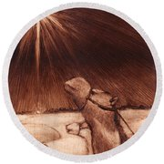 Why Would Wisemen Follow A Star? Round Beach Towel by Linda Anderson