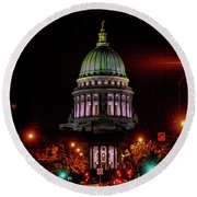 Wi State Capitol From West Washington Ave Round Beach Towel