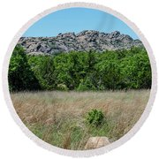 Wichita Mountains Wildlife Refuge - Oklahoma Round Beach Towel