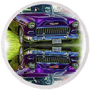 Wicked 1955 Chevy - Reflection Round Beach Towel