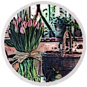 Wicker Basket And Flowers Round Beach Towel