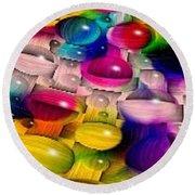 Wicker Marble Rainbow Fractal 2 Round Beach Towel