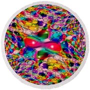Wicker Marble Rainbow Fractal Round Beach Towel