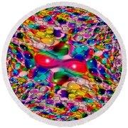 Wicker Marble Rainbow Fractal Round Beach Towel