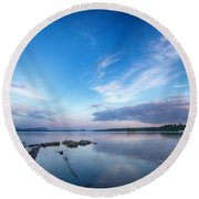 Wide Angled Sunset Over Moosehead Lake Round Beach Towel