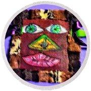 Wide Eyed Loup Garou Mardi Gras Screen Mask Round Beach Towel
