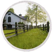 Widener Farms Horse Stable Round Beach Towel