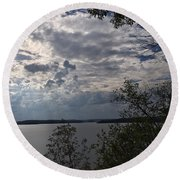 View Across Wappapello Lake Round Beach Towel