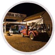 Wigwam Motel #3 Round Beach Towel