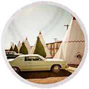 Wigwam Motel Classic Car #4 Round Beach Towel