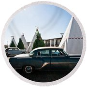 Wigwam Motel Classic Car #5 Round Beach Towel