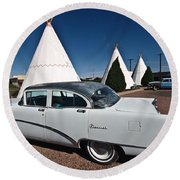 Wigwam Motel Classic Car Round Beach Towel