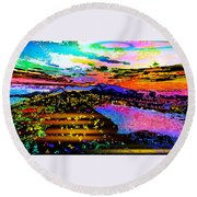 Wild And Crazy Mountainous Sunset Round Beach Towel