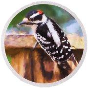 Wild Birds - Downy Woodpecker  Round Beach Towel