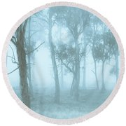 Wild Blue Woodland Round Beach Towel