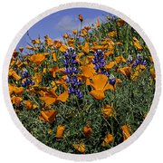 Wild California Poppies And Lupine Round Beach Towel