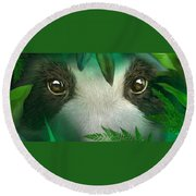 Wild Eyes - Giant Panda Round Beach Towel