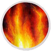 Wild Fire 04 Round Beach Towel