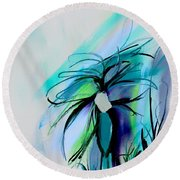 Wild Flower Abstract Round Beach Towel