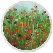 Wild Flowers Abstract Round Beach Towel