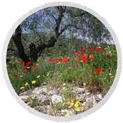 Wild Flowers And Olive Tree Round Beach Towel