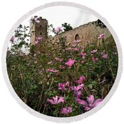 Wild Flowers At The Old Fortress Round Beach Towel