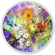 Wild Flowers Bouquet 02 Round Beach Towel