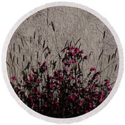 Wild Flowers On The Wall Round Beach Towel