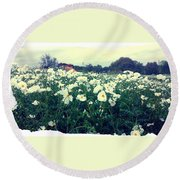 Wild Flowers White Round Beach Towel