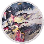 Wild Geese Flying In A Snow Storm Round Beach Towel