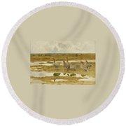 Wild Geese In The Marsh Round Beach Towel