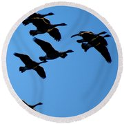 Wild Geese In The West Round Beach Towel
