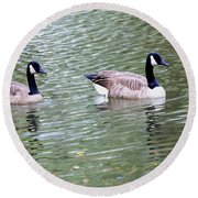 Wild Geese On A Lake 6 Round Beach Towel