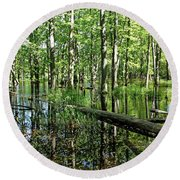 Wild Goose Woods Pond II Round Beach Towel