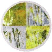 Wild Grass Collage 2 Round Beach Towel
