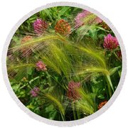 Wild Grasses And Red Clover Round Beach Towel