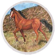 Wild Horse In Virginia City, Nevada Round Beach Towel
