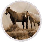 Wild Horses In Western Dakota Round Beach Towel